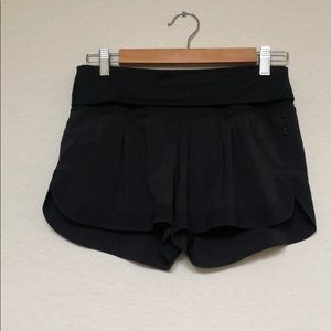 Lululemon Fold Over Waistband Black Shorts 4